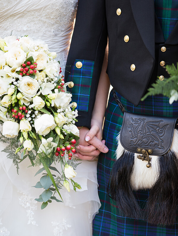 The beautiful dress and finely detailed tartan